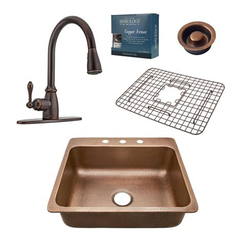 Kitchen Sink Combo Sinkology Pfister All In One Drop In Rosa 25 In 3 Copper Kitchen Sink Combo With Rustic