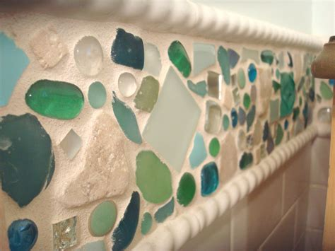 sea glass bathroom decorating ideas epic blue green mosaic beach glass tile