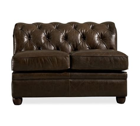 armless leather loveseat chesterfield leather armless loveseat pottery barn