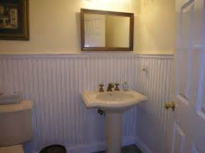Wainscoting For Bathroom Walls Covering A Tile Wall With A Beadboard Wainscot Tim S