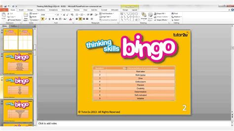 bingo powerpoint template teaching learning with powerpoint thinking skills bingo