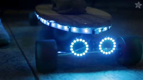 electric skateboard led lights this 3d printed skateboard is lit up by arduino driven