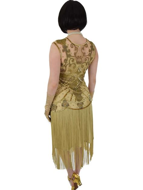 gold beaded fringed 20s style flapper dress blue