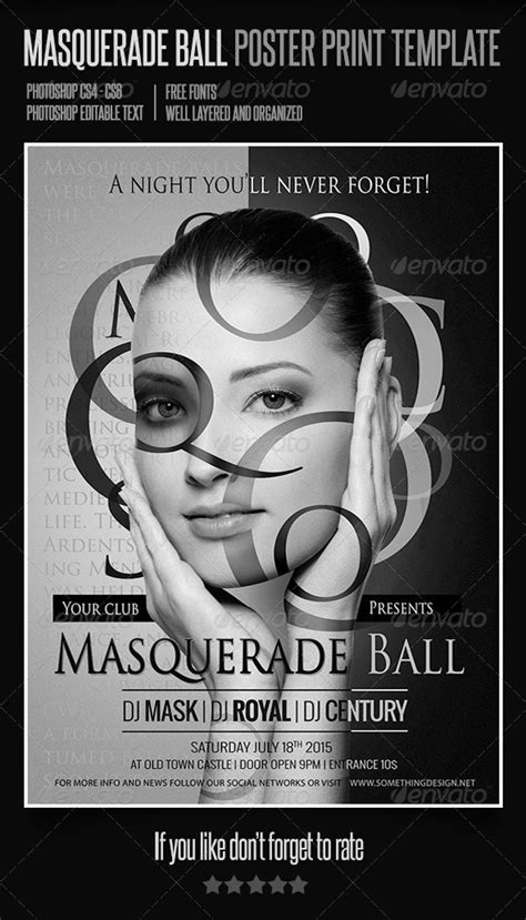 masquerade ball poster print template graphicriver