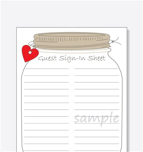 Baby Shower Sign In Sheet Template by Bridal Shower Guest Sign In Sheet Printable Diy Jar