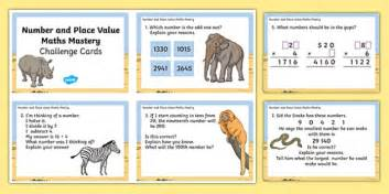 year 4 maths mastery number and place value challenge cards
