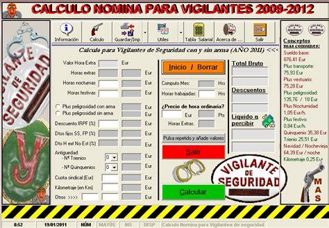 calculo nomina vigilante de seguridad vigilansnomina 20 calculo nomina para vigilante de seguridad 2011 vigilans