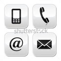 Set di pulsanti di contatto email busta telefono mobile icone clip