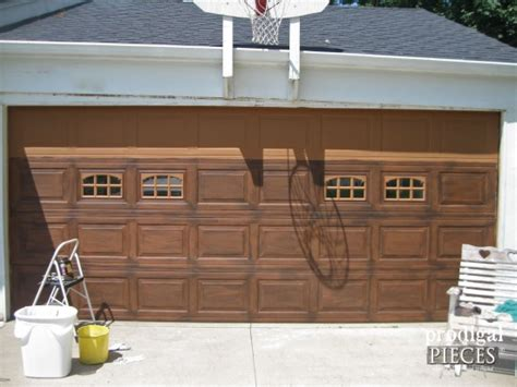painted garage door faux wood garage door tutorial prodigal pieces