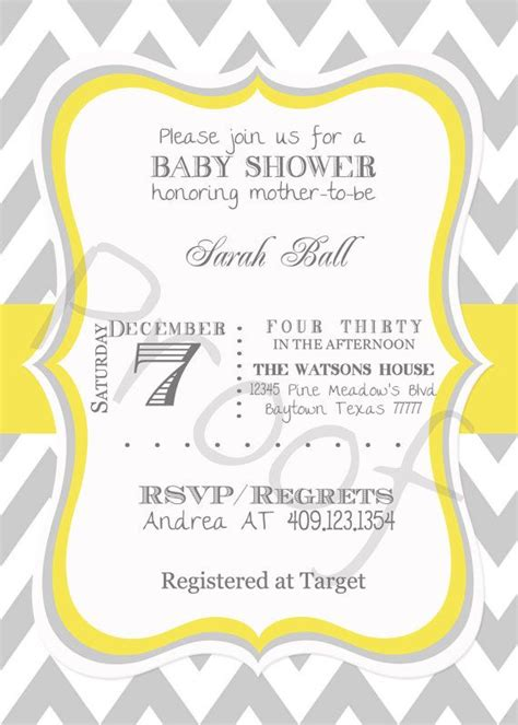 Yellow And Grey Baby Shower Invitations by Digital Baby Shower Invitation Grey And Yellow Chevron
