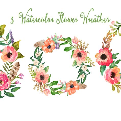 floral clip watercolor clipart floral frame pencil and in color