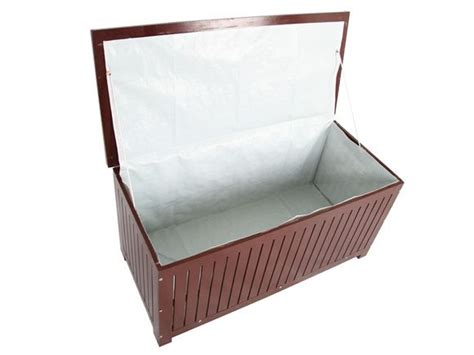 deck box with seat cushion wooden storage box cloth lined cushion seat garden patio