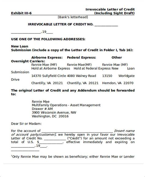 irrevocable letter of credit template 81 sle letters
