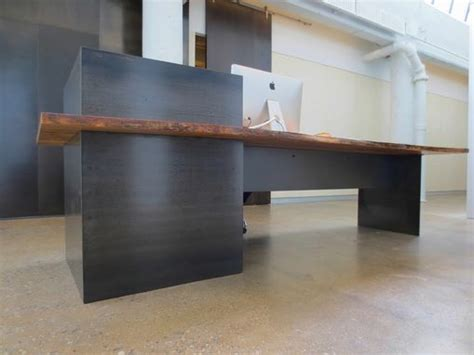 Industrial Style Reception Desk Made Metal Modern Industrial Plate Steel Reception Desk With Maple Live Edge Slab Top