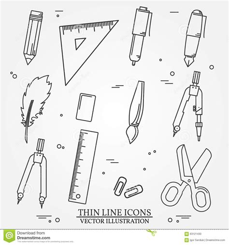 draw tool design drawing and writing tools icon thin line for web and