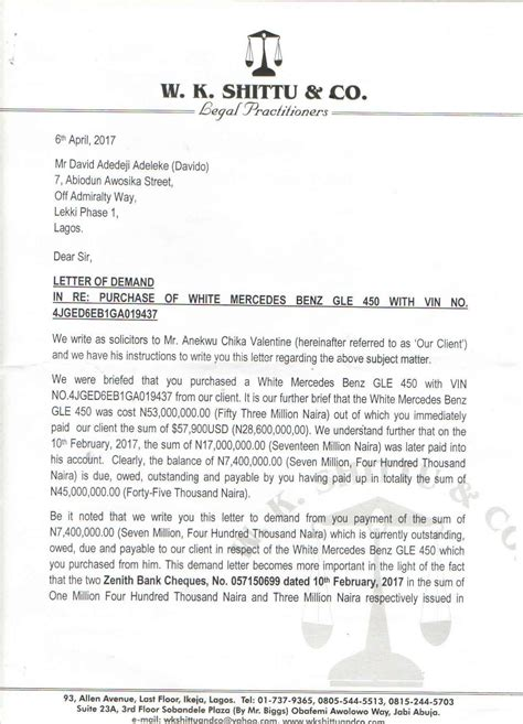 Demand Letter Car Dealership Lawyer Issues Davido Seven Day Ultimatum To Pay Car Dealer Naija