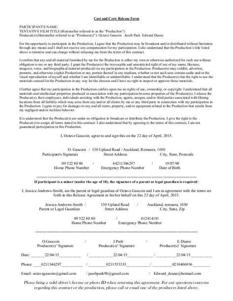 Crew Contract Template Cast And Crew Release Agreement