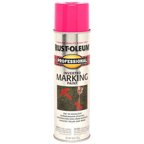 rust oleum 174 professional fluorescent pink inverted marking spray paint 15 oz at menards 174