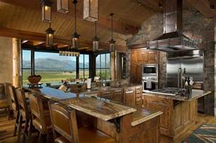 Rustic Home Kitchen Design Rocky Mountain Log Homes Timber Frames Rustic Kitchen