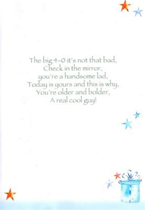 40th Birthday Verses For Cards Male 40th Birthday Poetry In Motion Card Cards Love Kates