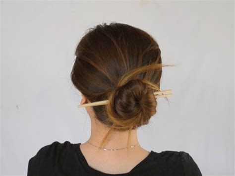 how to put in hair 3 ways to put your hair up with chopsticks wikihow