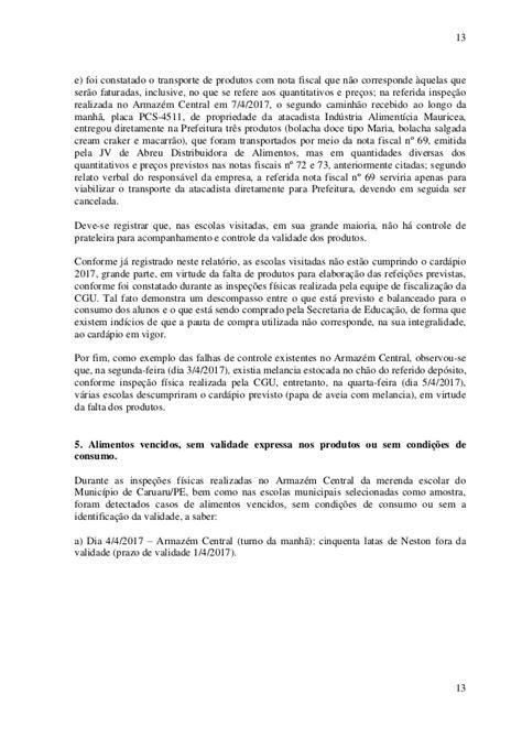 RELATÓRIO CGU CONTRATOS MERENDA CARUARU