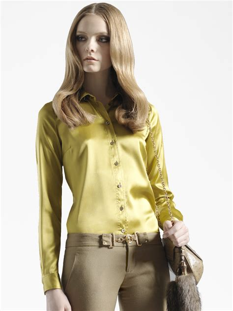 Ff Blouse Gucci 1 gucci stretch satin blouse in yellow lyst