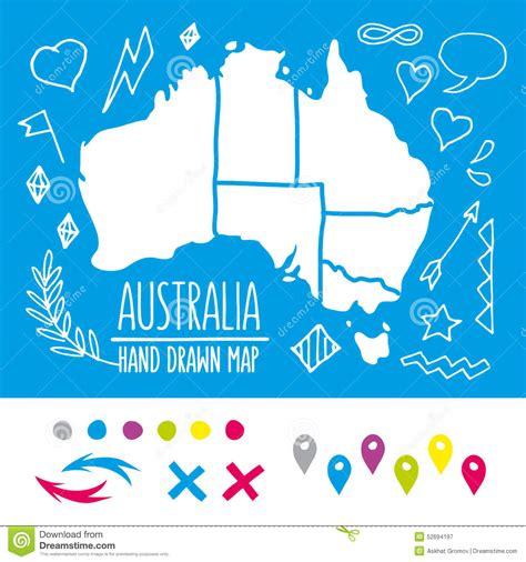doodlebug australia doodle australia travel map with pins and extras stock