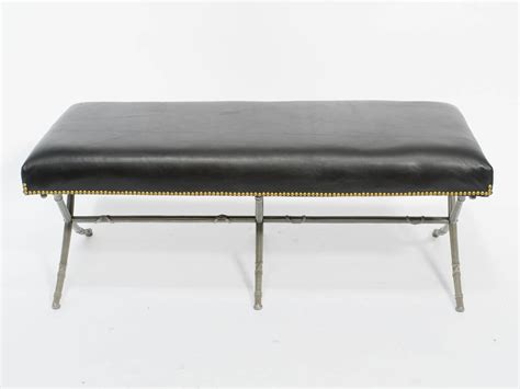 metal base bench classical leather bench on metal base for sale at 1stdibs