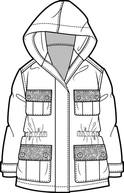 desain jaket hoodie coreldraw pretty military jacket technical fashion drawing