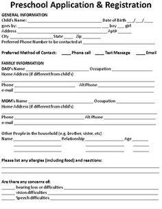 Busy B S Preschool Registration Form Lbl Pinterest Registration Form Preschool Forms And Preschool Application Form Template