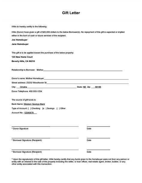 Mortgage Gift Letter Form Gift Money For Payment And Gift Letter Form