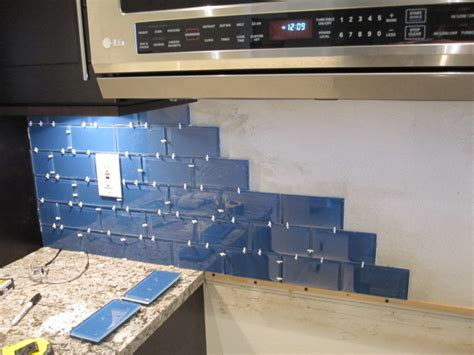 installing subway tile backsplash in kitchen how to install a glass tile backsplash armchair builder