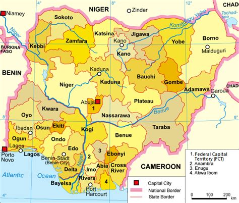 map of nigeria with states states of nigeria