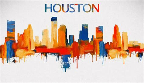 Texas Decor For Home colorful houston skyline silhouette painting by dan sproul