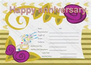Anniversary Certificate Template by Wedding Anniversary Gifts Wedding Anniversary Gift