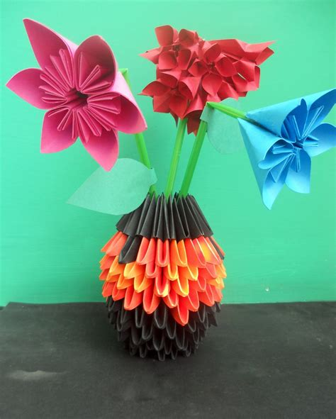 3d Origami Flower Vase - 15 best photos of origami paper folded in half folded