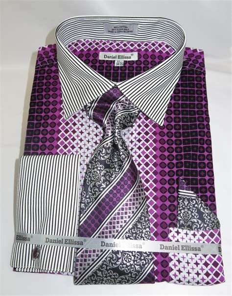 geometric pattern in french daniel ellissa ds3786p2 purple men s french cuff dress