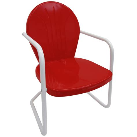 Leigh Country Retro Red Metal Patio Lawn Chair TX 93486