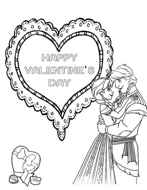 Valentine Coloring Pages Frozen | frozen valentines day coloring page h m coloring pages