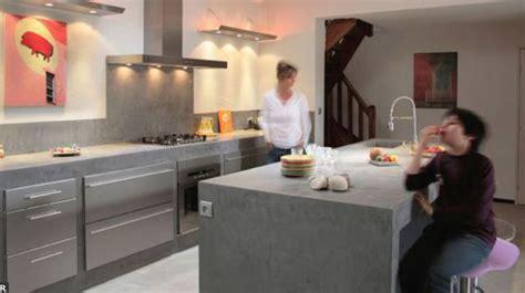 rev黎ement sol cuisine carrelage effet beton cire plancher bois accueil design