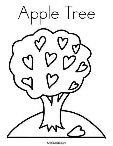 Apple Tree Coloring Page Twisty Noodle Apple Tree Coloring Page