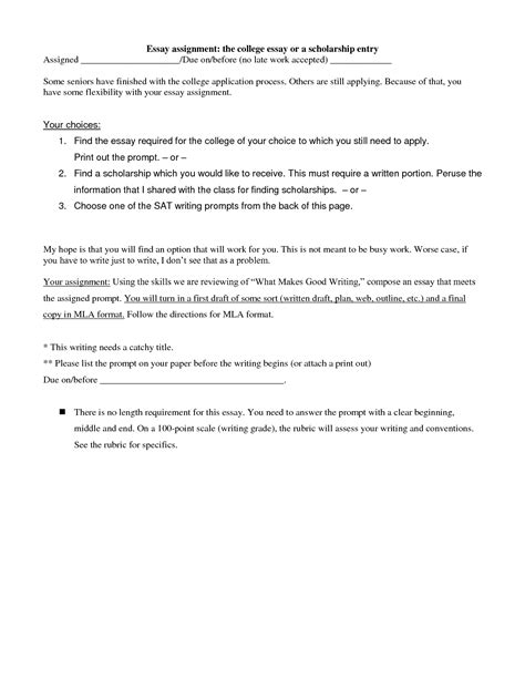 Writing Essay Format College by College Scholarship Essay Format Exles And Forms