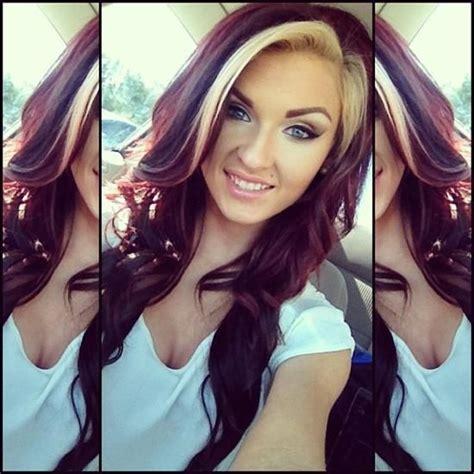 my blonde hair with dark red underneath hair pinterest dark red hair color with blonde streak beatuy and hair
