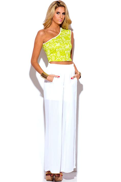 White Yellow Ethnic Print Top Size Sml shop wholesale womens lime green ethnic print one shoulder