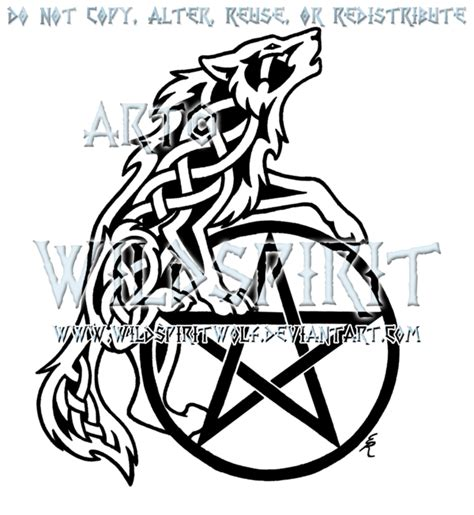celtic pentagram tattoo designs celtic howling wolf and pentacle design by wildspiritwolf