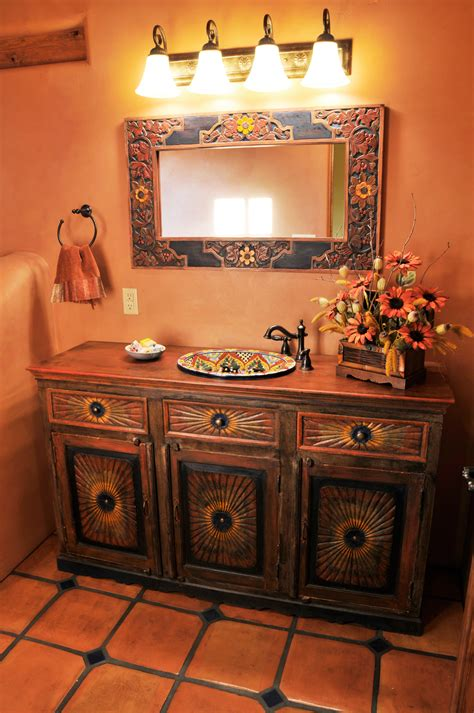 Mexican Bathroom Vanity Inspired Bathroom Home Flooring Wood Tile Leather