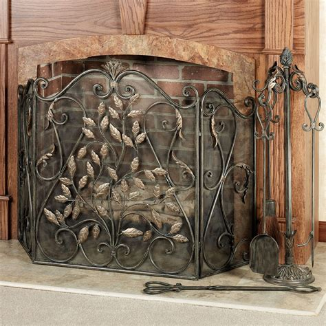 leaves fireplace screen