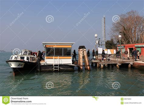 motor boat venice airport vaporetto water bus at venice airport editorial image