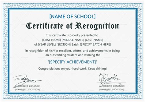 student certificate templates for word outstanding student recognition certificate design